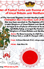 Personalised Registration Certificate -  Feudal Lords and Barons of The United Kingdom of Great Britain
