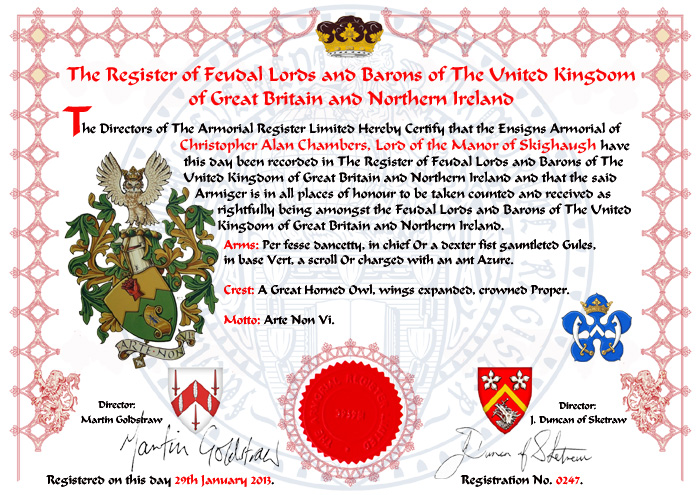 Certificate of The Register of Feudal Lords and Barons of The United Kingdom of Great Britain and Northern Ireland
